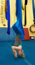 Photo: Oh Aerial Yoga,, what an experience I am having. I feel thankful to be able to do such a thing in my life, as my body get older. And thankful to the teacher who shares and teaches me. And also thankful for the colors of these cloths we use.