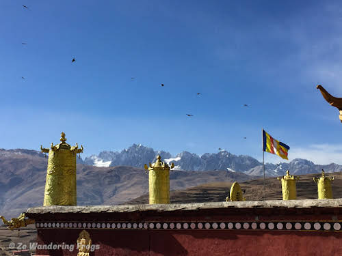 China Sichuan Kham Tibet Garze Ganzi Kandze Monastery Buddhist Festival // View of the Himalaya from Garze Monastery