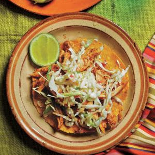 Spicy Chipotle Chicken Tostadas With Crunchy Slaw.