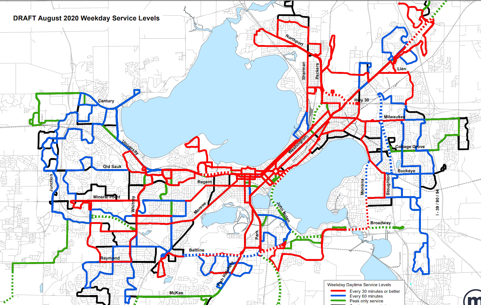 Map of new Metro service changes