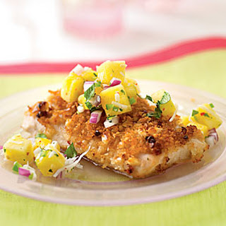 Pink Peppercorn Mahimahi with Tropical Salsa