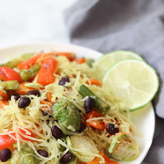 Spaghetti Squash with Roasted Vegetable Medley and Black Beans.