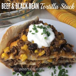 Beef & Black Bean Tortilla Stack