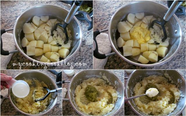 Ароматно заешко печено в плик и картофено пюре с кисели краставички и копър