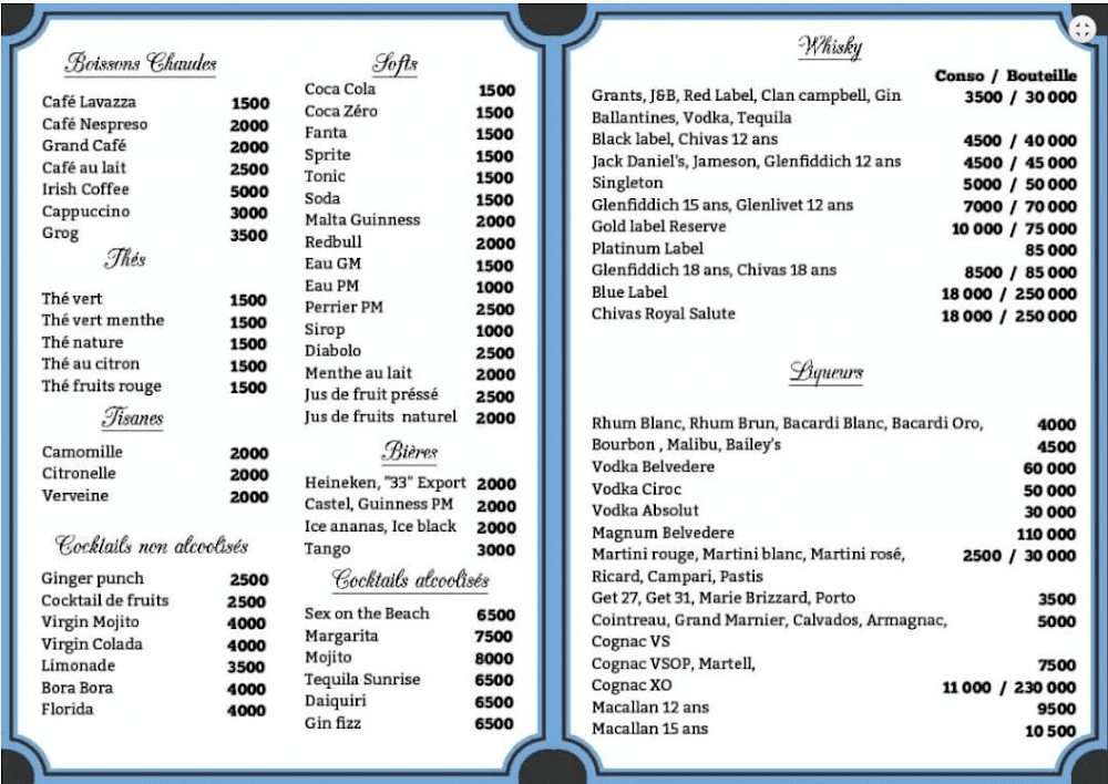 image du menu