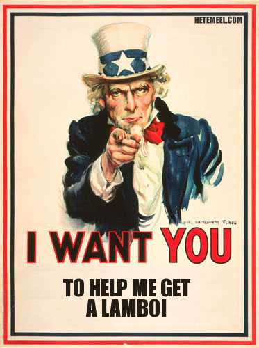 uncle sam wants you to help this man get a Lamborghini