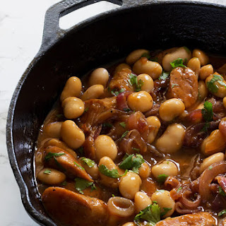 Sausage and Butter Beans in Onion Gravy.