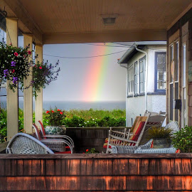 Thru the porch by Ann Goldman - Novices Only Landscapes ( colorful, colors, beach, rainbow, rain,  )