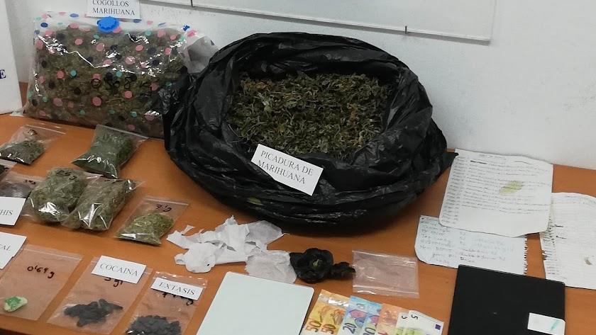 Sustancias halladas en el domicilio del detenido
