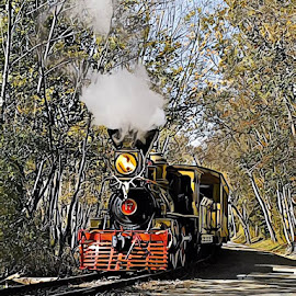 Steam Train by Roxanne Dean - Digital Art Things ( country, fall, steam, tracks, train )