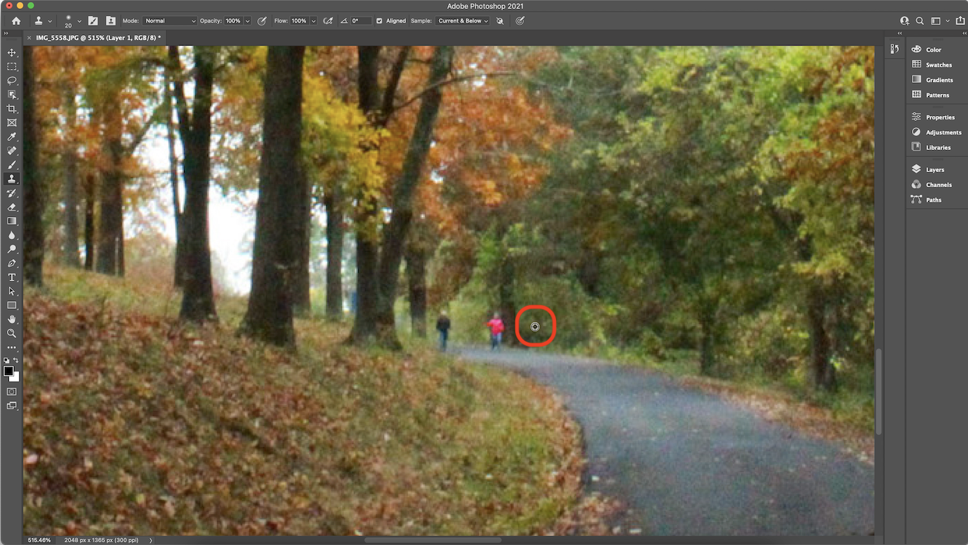 Screenshot of selecting Clone Stamp source in Photoshop.