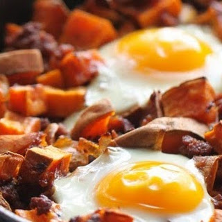 Sweet Potato Hash with Carmalized Onions, Chorizo and Eggs