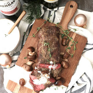 Roasted Beef Tenderloin with a White Wine Cream Sauce.