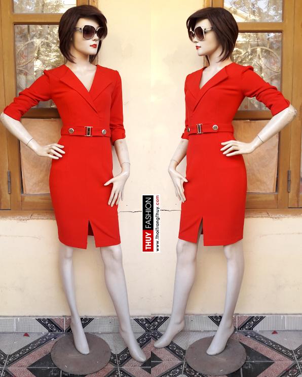 Váy liền cổ vạt chéo tông màu đỏ V352 thời trang thủy