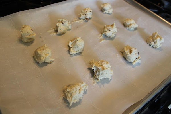 Drop by tablespoon onto baking sheet lined with parchment paper.