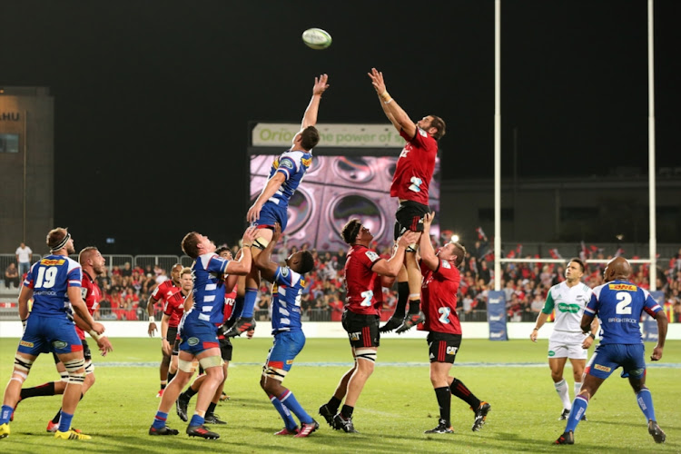 Lineout action during the round two Super Rugby match between the Crusaders and the Stormers at AMI Stadium on March 3, 2018 in Christchurch, New Zealand.