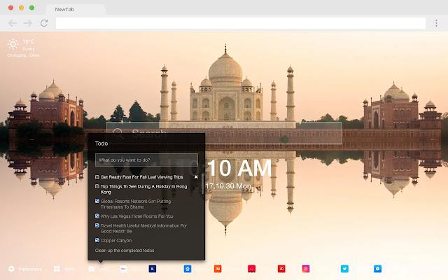 Taj Mahal New Tab Page HD Pop Building Theme