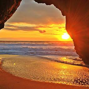 All Seeing Eye by Derek Gibbins - Instagram & Mobile iPhone ( cliffs, sunset, ocean, beach, cave )
