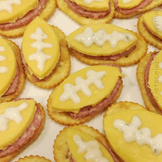 Finger Footballs - salami, cheese, and crackers