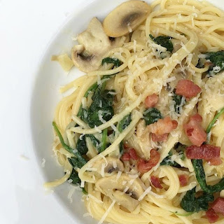 Creamy Spinach, Mushroom And Bacon Pasta.