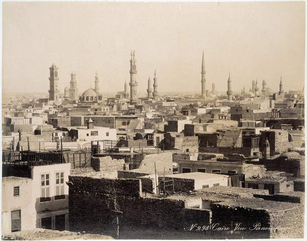 Image of a View of the roofs of Cairo - photograph of the Zangali Brothers, late 19th century, Zangaki Brothers (fl.1870s-90s) / Greek, Jesuit Library, Cairo, Egypt, Photo © Leonard de Selva / Bridgeman Images