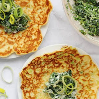 Leek Pancakes with Spinach, Kale and Ricotta.