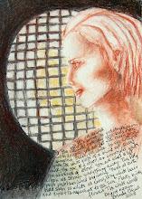 "Photo: 'She, transparent to the sun,' 8.5"" x 11"", conte, chalk, pastel, art pen on Pentalic neutral pH 25% cotton 130 lb drawing paper."