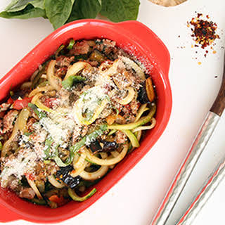 Spicy Eggplant and Sausage Zucchini Pasta.