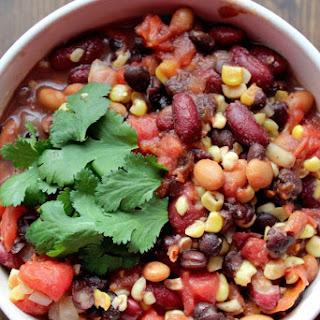 Crock Pot Vegetarian Three Bean Chili.