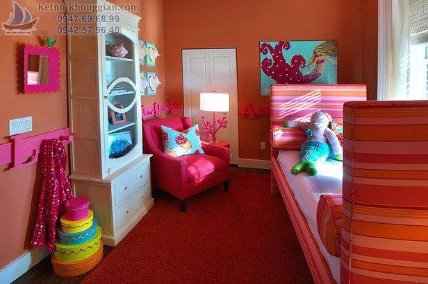 thiết kế phòng ngủ cho bé sử dụng tông màu lòe loẹt