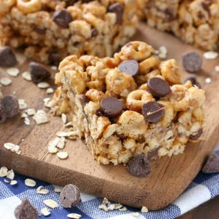 Chocolate Peanut Butter Honey Cereal Bars.