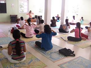 Photo: 1 Month YTT Course - Batch of May 2008 - Jeenal Mehta conducting Pranayama's Class (students performing Yogendra Pranayama III).