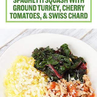 Spaghetti Squash with Ground Turkey, Cherry Tomatoes, and Swiss Chard.