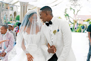 Tumi and Zolani Dlamini during their wedding.