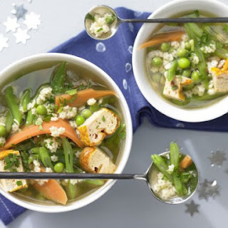 Vegetable-Noodle Soup with Egg Custard