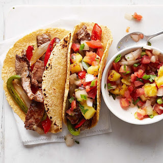 Hawaiian Steak Fajitas with Grilled Pineapple Salsa Recipe