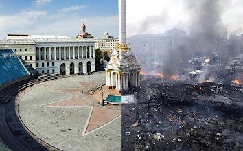 Photo: Майдан до и после. Янукович превратил Майдан в Мордор. Президент, который сжигает центр столицы и уничтожает людей - это бес и беспредельщик. В Украине нет радикалов. Тут изгоняют беса.  #Евромайдан #Украина
