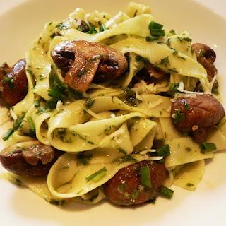 Tagliatelle with Roasted Mushrooms and Chive Pesto Recipe