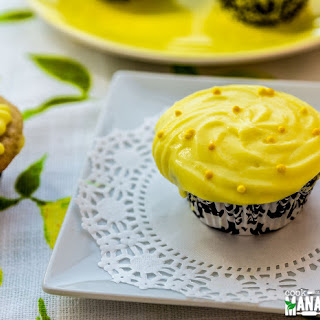 Lemon Cupcakes With Cream Cheese Greek Yogurt Frosting.