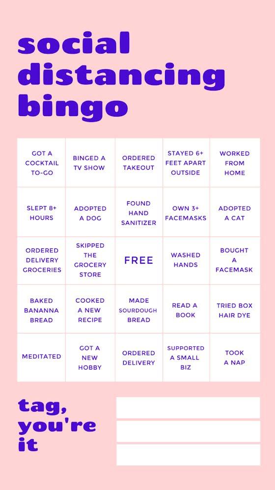 Social Distancing Bingo - Facebook Story Template