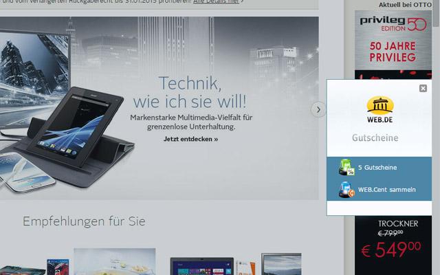 WEB.DE Gutschein-Alarm für Google Chrome