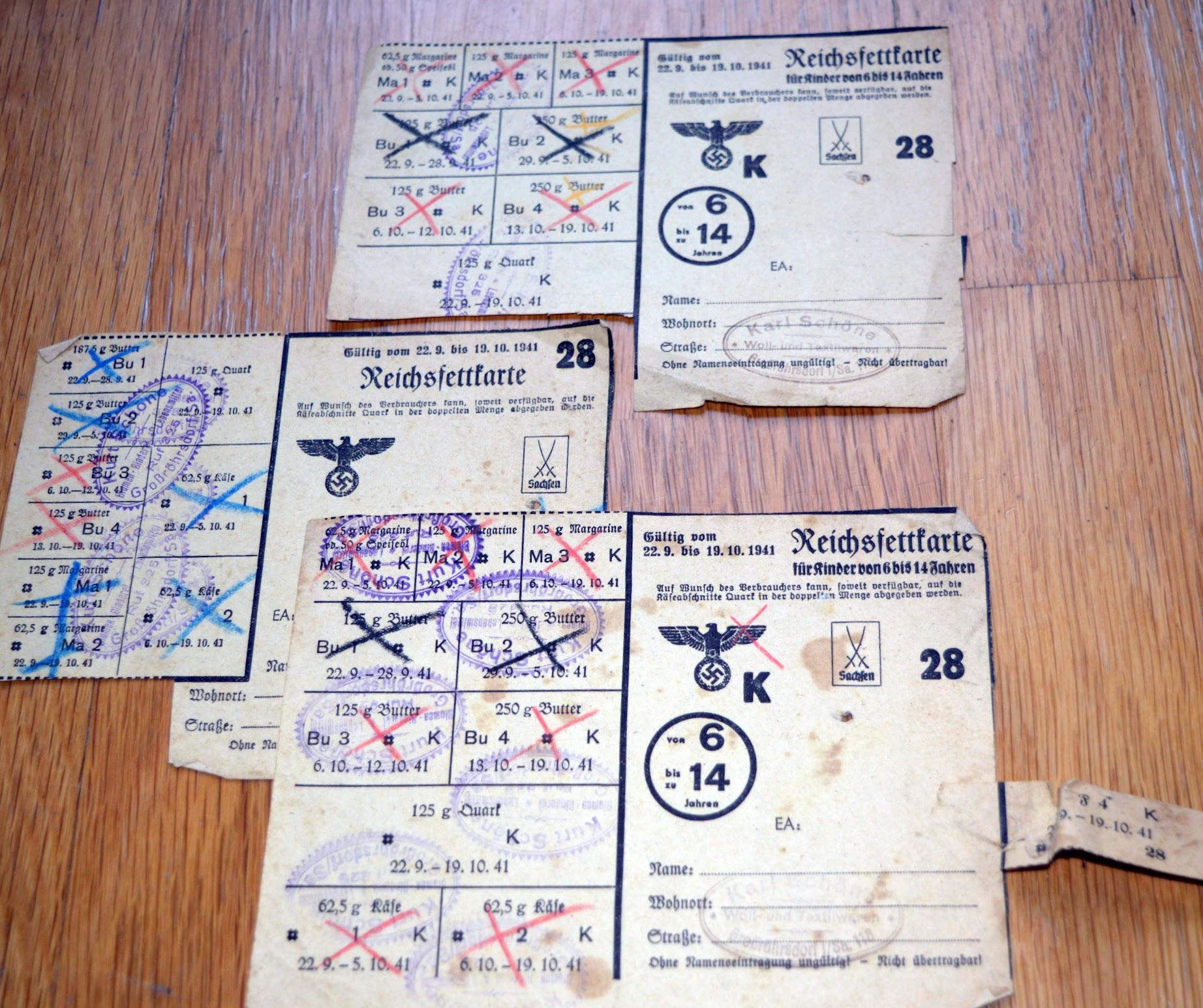 Lebensmittelkarte Reichsfettkarte