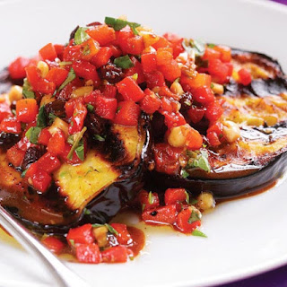 Grilled Eggplant with Roasted Red Pepper Relish