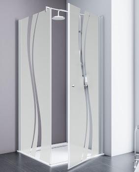 Drehtür mit Seitenwand, 800x800x1920 mm, Alu-Natur, Sicherheitsglas Liane beschichtet