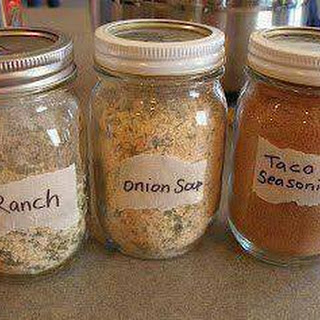 Make your own Ranch, Dry Onion Soup Mix and Taco Seasoning and store in small mason jars.