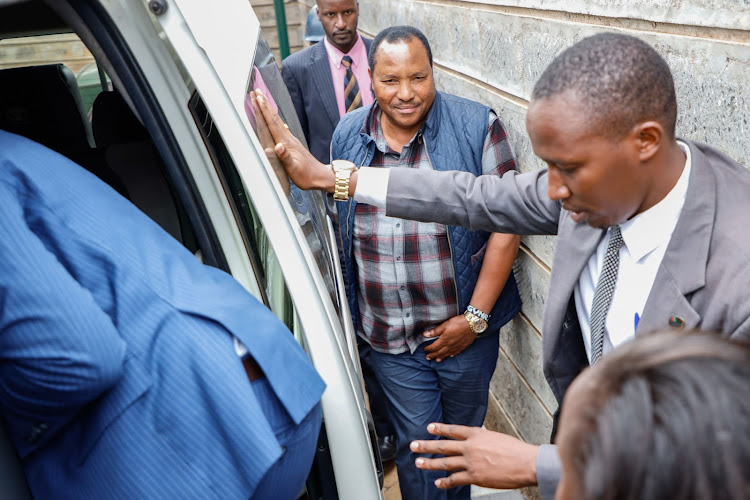 Governor Ferdinand Waititu is escorted by EACC detectives from his house in Kiambu on May 23, 2019.