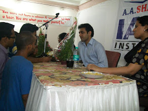 Photo: Students coming up with doubts & queries at UPSC Toppers Seminar 2012 with Mrs. Bilquees Khatri, toppers Mr. Ajay Kumat AIR 679 & Tejaswi Satpute AIR 198 at A A SHAH's IAS Institute, FORT