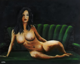 Photo: Fine Art Female Nude Sara Seated 2011 Original oil / acrylic painting of a female nude, seated, in a contemporary style.