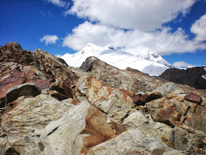 Photo: That snow capped peak before the snow-covered mountain became my new goal as I got up higher.