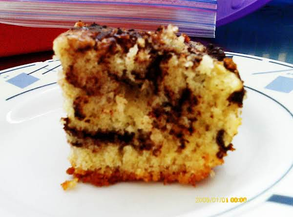 Yummy Plain Coffee Cake With Cocoa Powder Swirled Throughout It!
